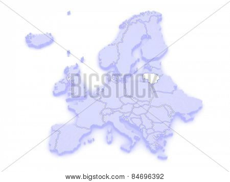 Map of Europe and Lithuania. 3d