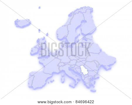 Map of Europe and Serbia. 3d