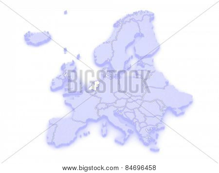 Map of Europe and Netherlands. 3d