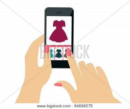 Buying dresses in the online shop. Hand holding a mobile phone. Vector illustration