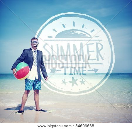 Businessman Holding Beach Ball Standing on the Beach