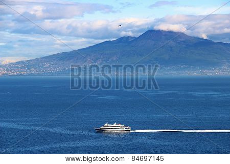 Vesuvius Volcano And Mediterranean Sea