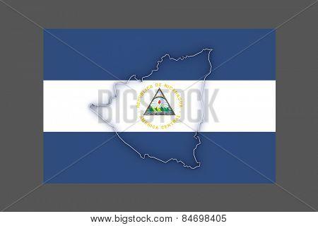 Map of Nicaragua. 3d