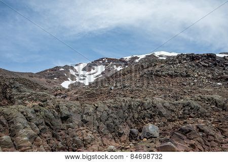 Mount Ruapehu with a snow covered cap landscape in summer, Tongariro National Park