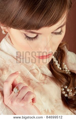 Beautiful Young Bride With Retro Hairstyle.