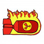 picture of nuclear bomb  - retro comic book style cartoon nuclear bomb - JPG