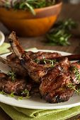 image of lamb chops  - Organic Grilled Lamb Chops with Garlic and Lime - JPG