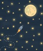 stock photo of moon stars  - Space rocket flying to the moon - JPG