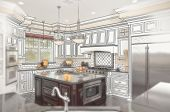 pic of combinations  - Combination of Beautiful Custom Kitchen Design Drawing with Ghosted Photo Behind - JPG