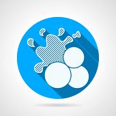 picture of paintball  - Flat round blue vector icon with white silhouette three paintball balls with splashing on gray background - JPG