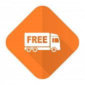 stock photo of free-trade  - free delivery orange flat icon transport sign  - JPG