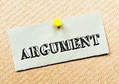 image of argument  - Recycled paper note pinned on cork board - JPG