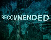 stock photo of recommendation  - Recommended text concept on green digital world map background - JPG