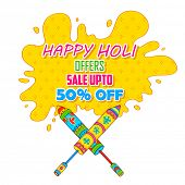 stock photo of dharma  - illustration of colorful splash coming out from pichkari in Holi promotional background - JPG