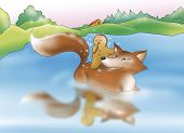 picture of ginger bread  - Sweet ginger bread boy crossing the river on the back of the fox - JPG