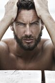 pic of macho man  - Close up Portrait of Confident Fashion Handsome Man with No Shirt - JPG