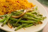 picture of sauteed  - Chinese sauteed string beans in a brown oyster sauce with pork fried rice - JPG