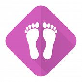 stock photo of flat-foot  - foot pink flat icon   - JPG