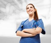 stock photo of nurse practitioner  - Portrait of a young beautiful nurse - JPG