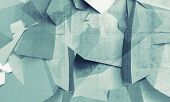 stock photo of fragmentation  - Abstract chaotic polygonal fragments on concrete wall background - JPG