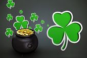 stock photo of pot gold  - pot of gold against shamrocks on grey backround - JPG