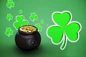 foto of pot gold  - pot of gold against green shamrocks on green background - JPG