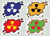 picture of radioactive  - Set of cartoon radioactive fallout contamination symbols - JPG