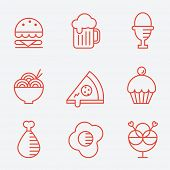 stock photo of hamburger-steak  - Food icons - JPG
