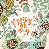 stock photo of bee cartoon  - Lovely enjoy the day concept floral design in vector - JPG