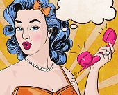 stock photo of bubbles  - Pop Art illustration of woman with the speech bubble ant retro telephone - JPG