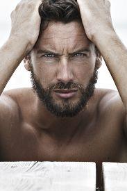 image of macho man  - Close up Portrait of Confident Fashion Handsome Man with No Shirt - JPG