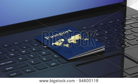 Passport on black laptop keyboard