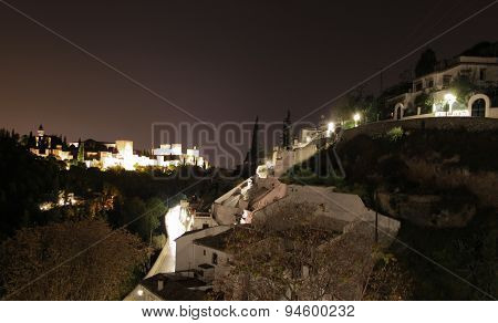 View of Granada Spain at night