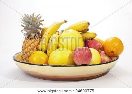Decorative Bowl Of Colorful Seasonal Tropical Fruit