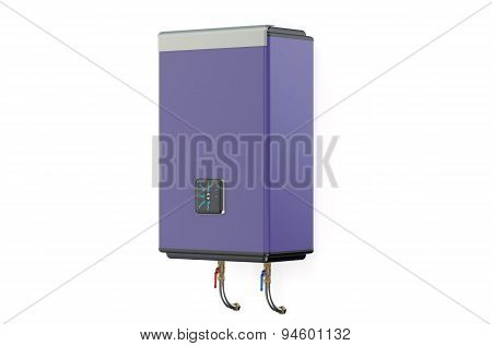 Purple Water Heater Or Boiler  Side View