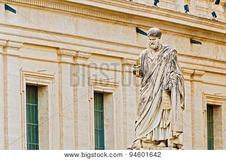 Saint Peter Sculpture In Front Of Basilica In Rome, Italy.