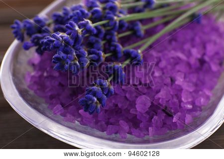 Purple sea salt with fresh lavender, closeup