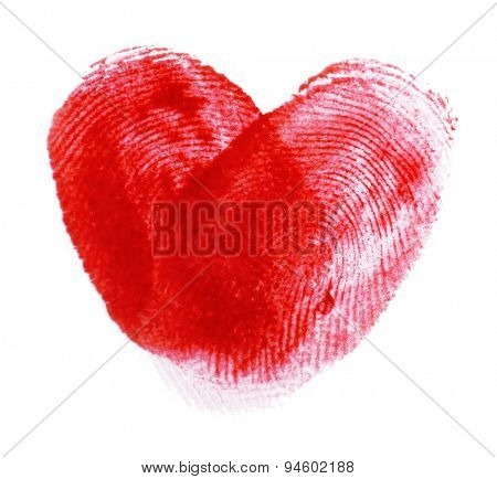 Heart of fingerprints on white paper background
