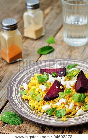 Spiced Millet Porridge With Beetroot, Coriander, Mint And Feta