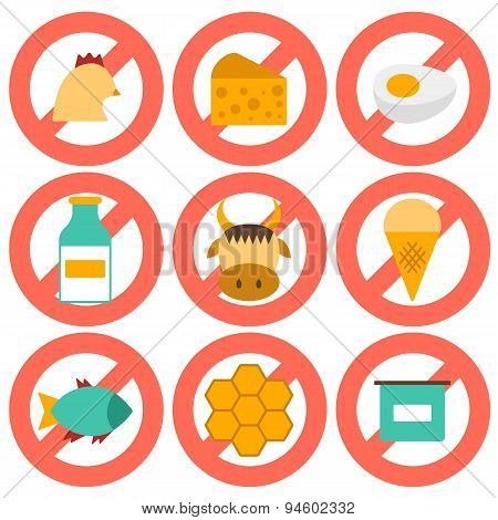 Set of modern flat icons with products containing animal protein and prohibited for vegans