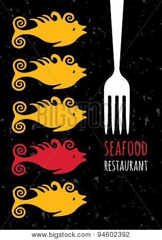 Vector Seafood Restaurant Background. Multicolor Fish And Fork Silhouette. Abstract Concept For Menu