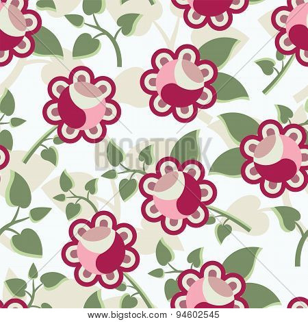 Beautiful Vector Seamless Pattern With Decorative Rose Flowers And Leaves. Colorful Floral Pastel Ba