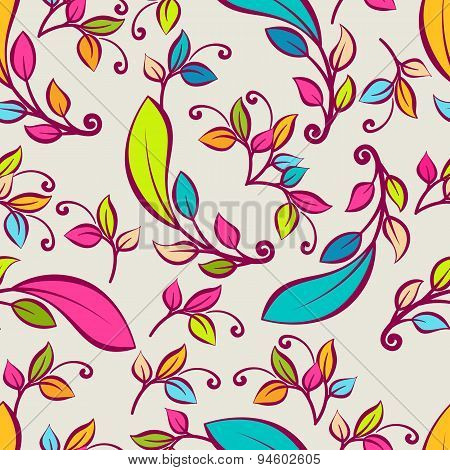Vector Seamless Pattern With Multicolor Decorative Leaves. Vector Nature Spring, Summer Or Autumn Ba