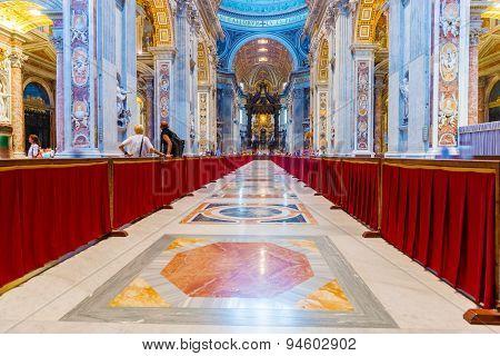 Interior St. Peter Basilica In Rome, Italy.