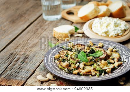 Zucchini Basil Mint Cashews Salad With Ricotta And Fresh Bread