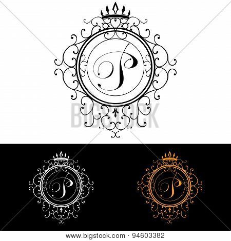 Letter P. Luxury Logo Template Flourishes Calligraphic Elegant Ornament Lines. Business Sign, Identi