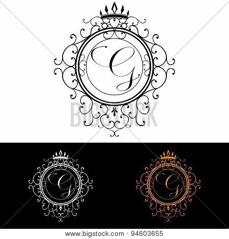 Letter G. Luxury Logo Template Flourishes Calligraphic Elegant Ornament Lines. Business Sign, Identi