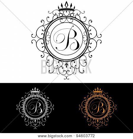 Letter B. Luxury Logo Template Flourishes Calligraphic Elegant Ornament Lines. Business Sign, Identi