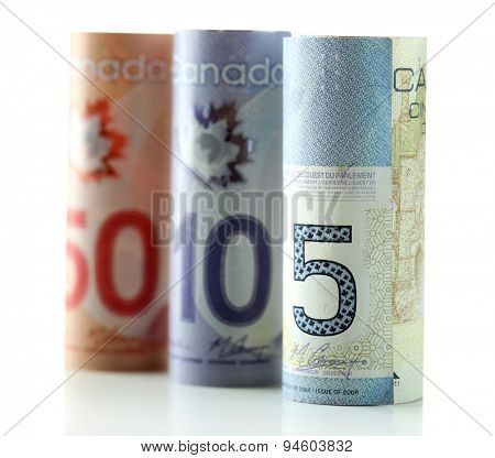 Canadian dollars, isolated on white