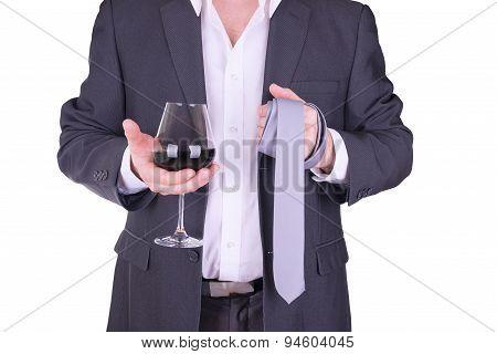 Elegant Man Drinking Red Wine.